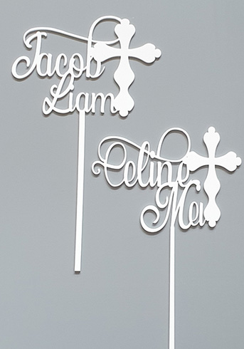 Baptism cake toppers